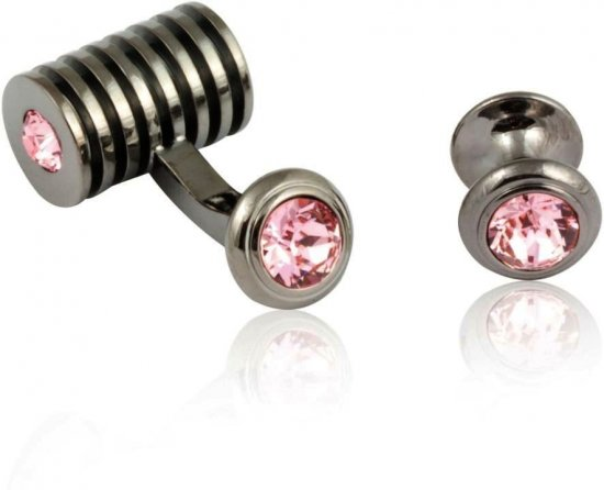 Men's Gunmetal Light Rose Swarovski Barrel Formal Set