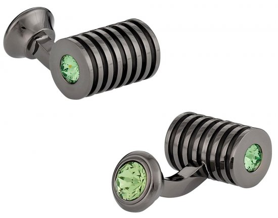 Men's Gunmetal Peridot Swarovski Barrel Cufflinks