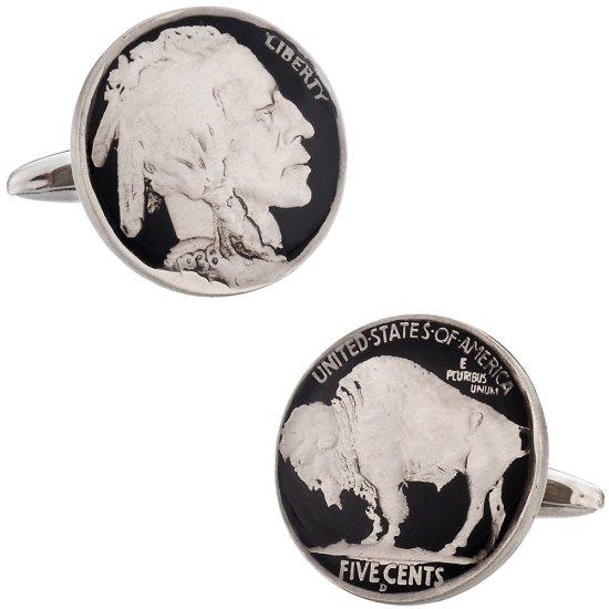 Hand Painted Buffalo Nickel Cufflinks
