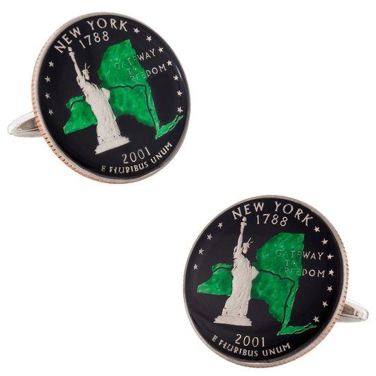 Hand Painted New York Quarter Cufflinks