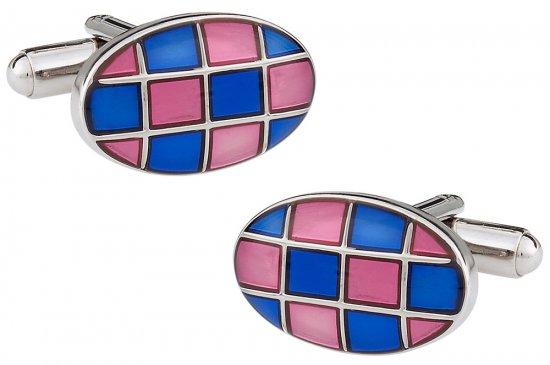 Harlequin Pink Blue Cufflinks