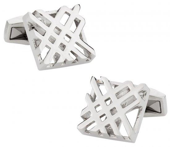 Designer Hollow Check Silver Cufflinks