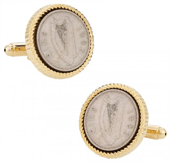 Irish Harp Half Penny Coin Cufflinks
