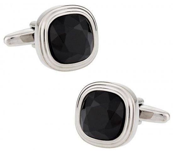 Jet Black Crystal Cufflinks