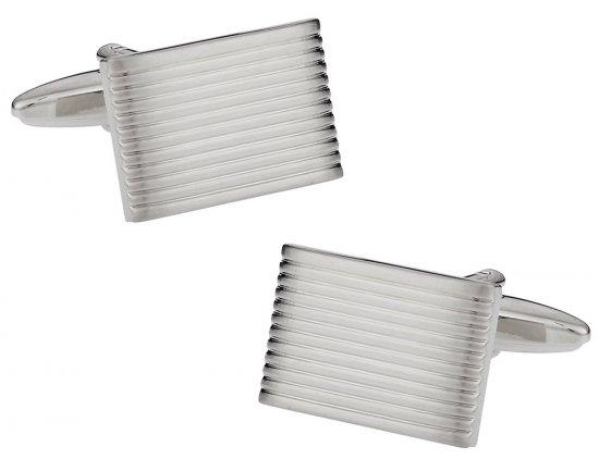 Lined Silvertone Cufflinks
