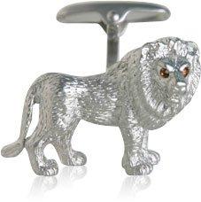 Lion Cufflinks with Swarovski Eyes