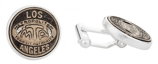 Los Angeles Transit Token Cufflinks Clad in Sterling Silver