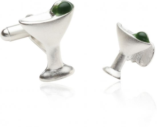 Frosted Martini Cufflinks and Studs with Sterling Silver Plate
