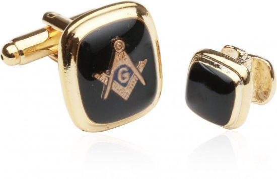 Rectangular Gold Black Masonic Cufflinks and Studs Set