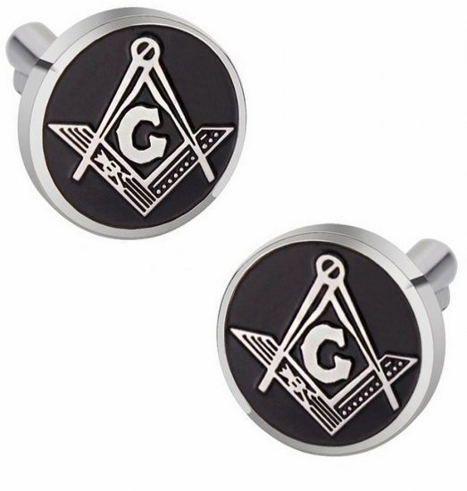 Masonic Freemason Cufflinks Compass Black Enamel Round