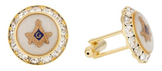 Mother of Pearl Gold Crystal Masonic Cufflinks