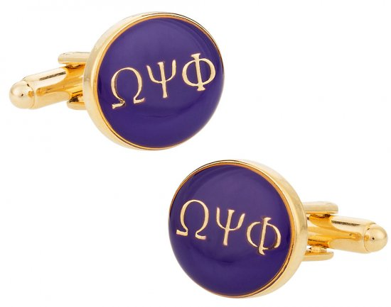 Omega Psi Phi Purple Gold Fraternity Cufflinks