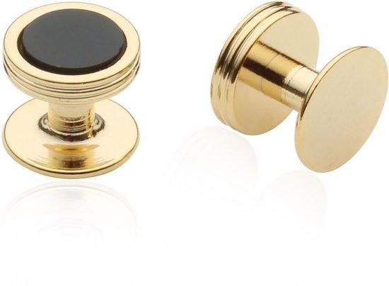 Onyx Studs in Gold Tone