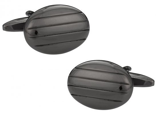 Oval Gun Metal Cufflinks