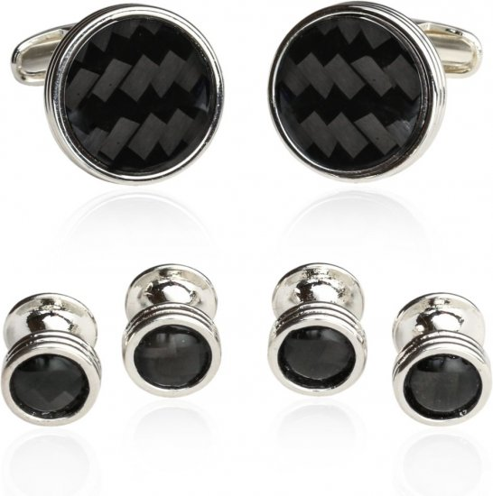 Wedding Carbon Fiber Cufflinks and Studs for Men