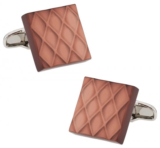 Quilted Metallic Brown Cufflinks