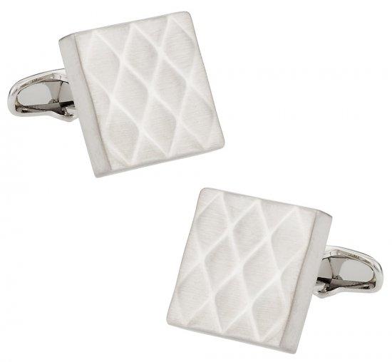Quilted Metallic Brushed Silvertone Cufflinks
