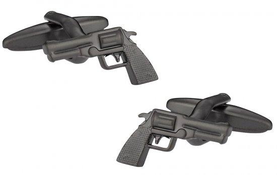 Revolver Handgun 6 Shooter Cufflinks in Gunmetal
