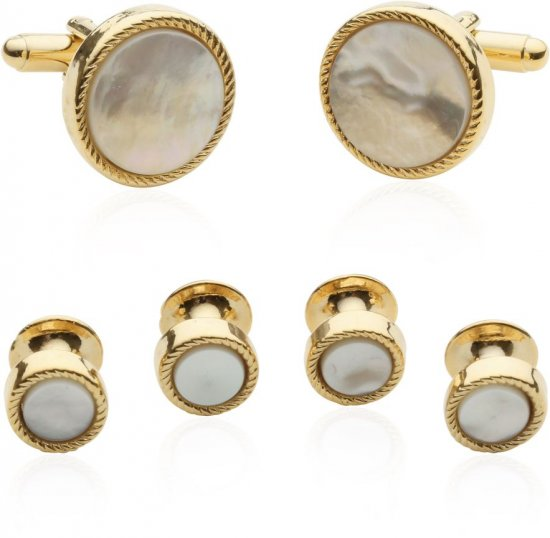 Men's Ribbed Mother of Pearl Gold Tuxedo Cufflinks & Studs