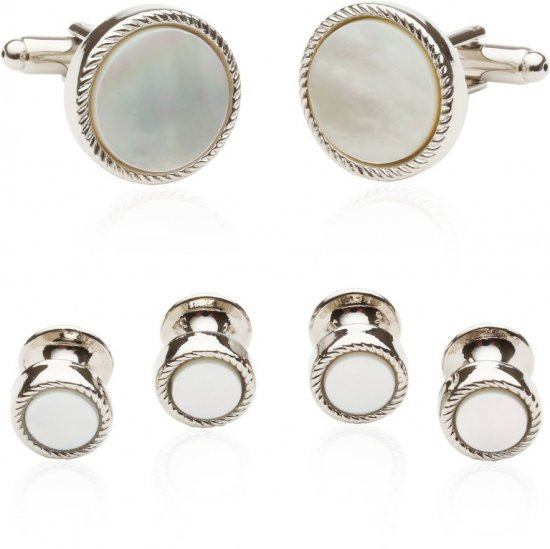 Men's Ribbed Mother of Pearl Silver Tuxedo Cufflinks & Studs