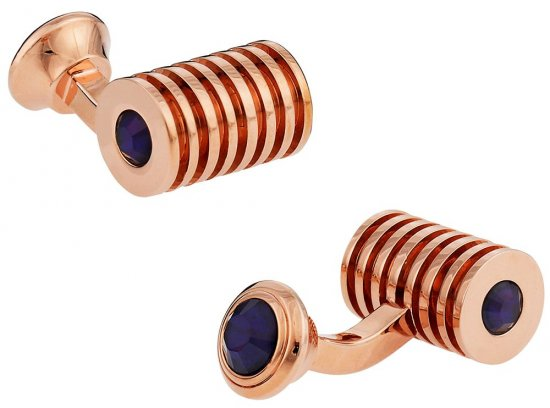 Rose Gold Blue Swarovski Barrel Crystal Cufflinks