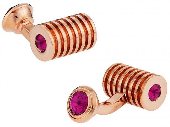 Rose Gold Fuschia Swarovski Barrel Crystal Cufflinks