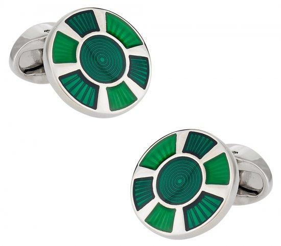 Round Green Enamel Cufflinks