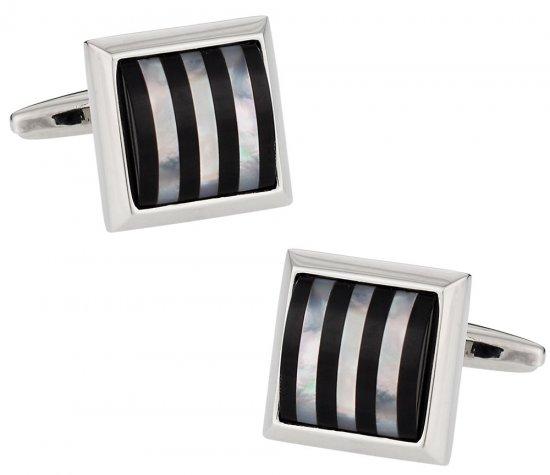 Semi Precious Striped Cufflinks