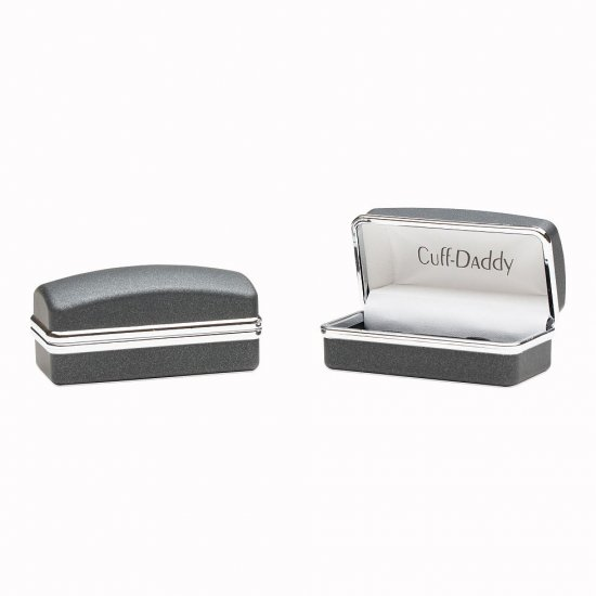 Silver Black Diamond Swarovski Double Cufflinks