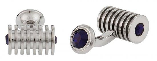 Silver Blue Swarovski Barrel Crystal Cufflinks