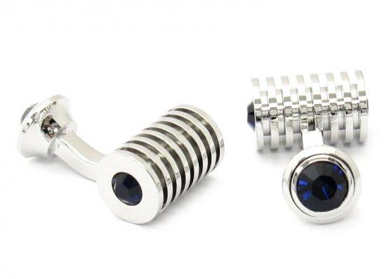 Men's Silver Blue Swarovski Barrel Cufflinks and Studs