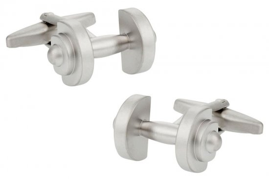 Silver Dumbbell Bodybuilder Weightlifting Cufflinks
