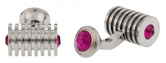 Silver Fuschia Swarovski Barrel Crystal Cufflinks