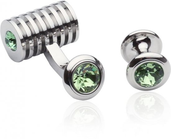 Silver Peridot Green Swarovski Barrel Formal Set