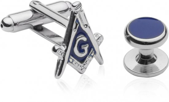Silvertone Masonic Formal Set Cufflinks Studs Set with Gift Box