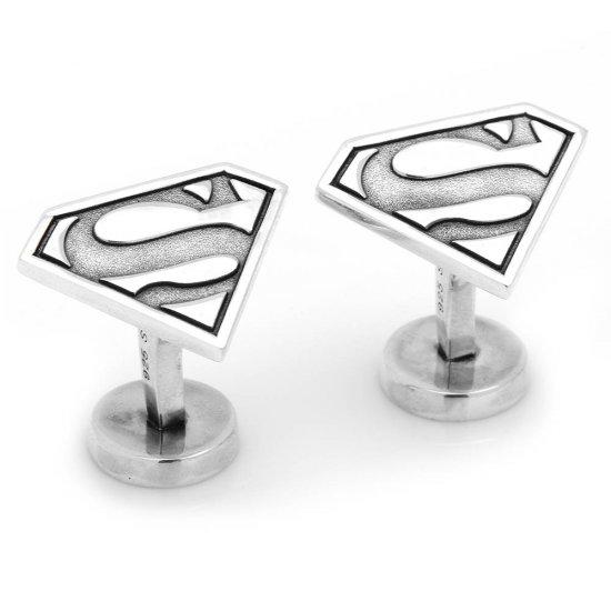 Solid 925 Sterling Silver Superman Cufflinks