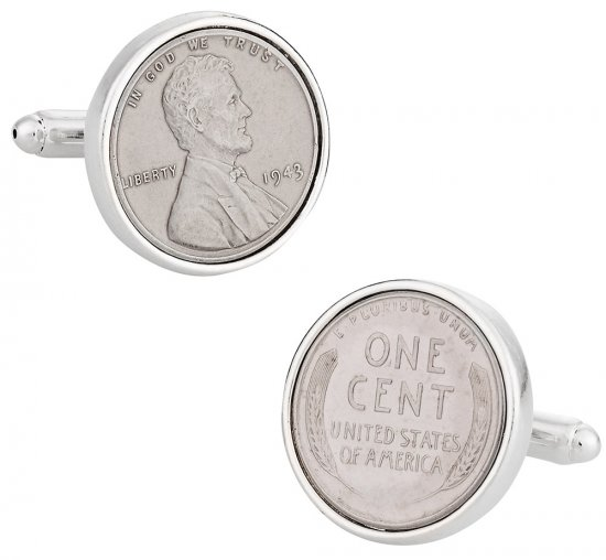 Steel Penny Coin Cufflinks - Sterling Silver Plate