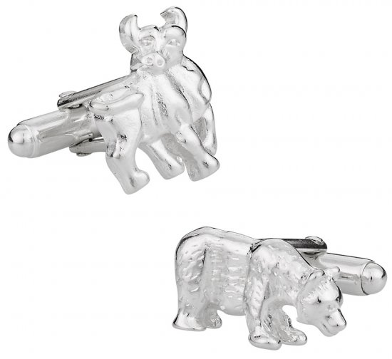 Sterling Silver Bull and Bear Cufflinks
