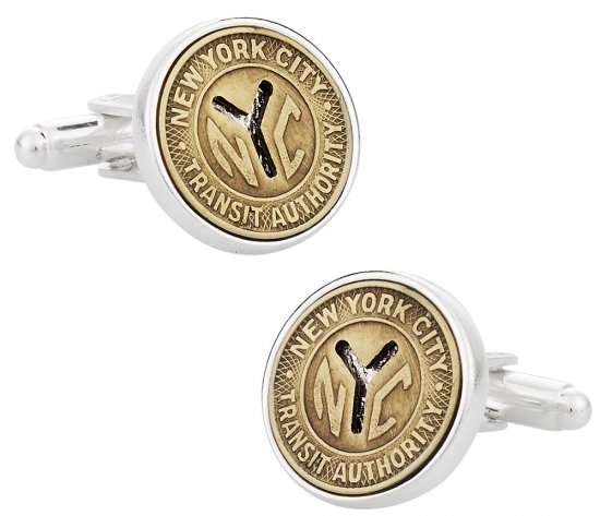 Subway Token Cufflinks for New York City Clad in Sterling Silver Plate