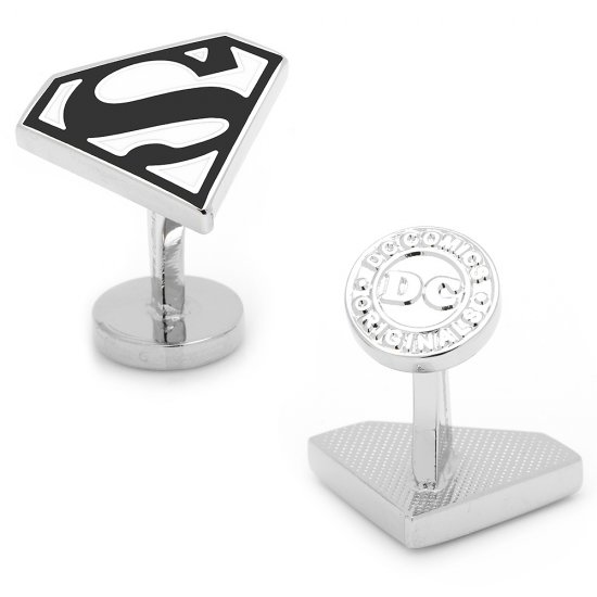 Men's Licensed Superman Shield Cufflinks in Black and White Enamel