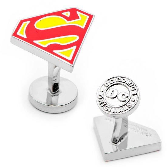 Superman Shield Cufflinks in Red Yellow