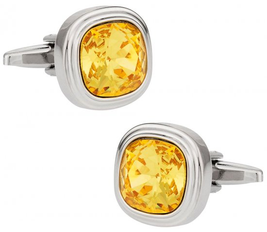 Swarovski Sunflower Yellow Crystal Cufflinks