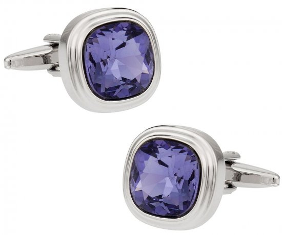 Swarovski Tanzanite Blue Purple Crystal Cufflinks