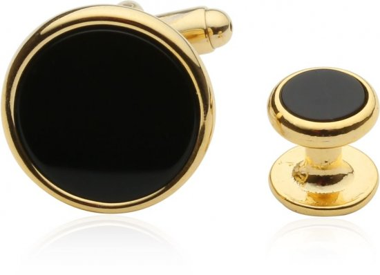 Men's Tuxedo Cufflinks and Studs - Black Onyx with Gold Tone