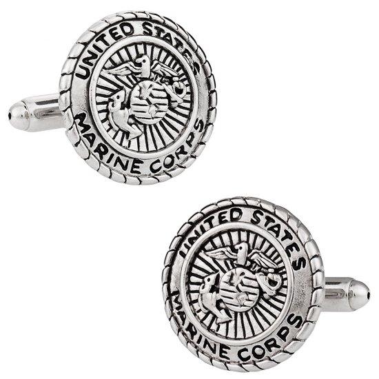 USMC Marine Corp Cufflinks Silver
