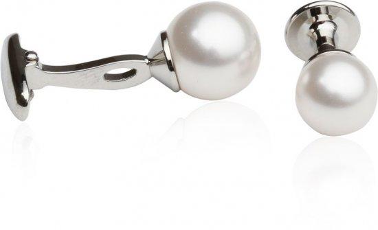 White Swarovski Pearl Formal Set Cufflinks & Studs